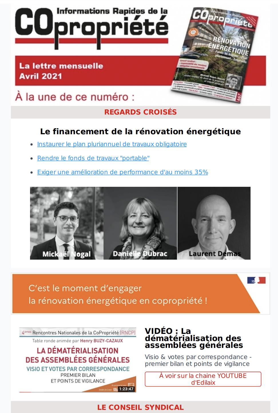 Newsletter Avril 2021